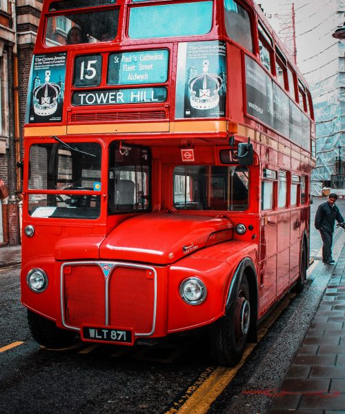 Number 15 Tower hill red bus